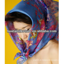 100% seda designer marca azul marinho multi cachecol headwear
