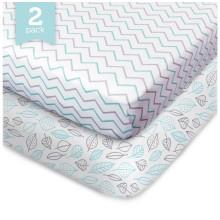 2 Pack Fitted Crib Sheet-100% Organic Crib Sheet ,Fit Standard Crib Mattress