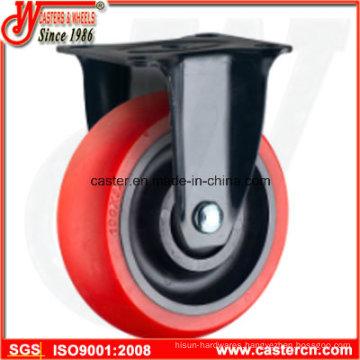 Medium Duty Rigid Caster with Red TPU Wheel