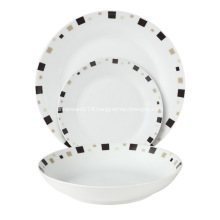 18 Piece Coupe Porcelain Tableware Dinner Set  Geometric