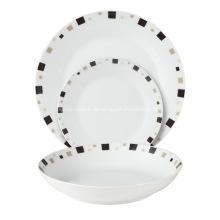 18 Stück Coupe Porzellan Geschirr Abendessen stellen geometrische
