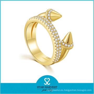 Bajo MOQ Fashion Women Accessories oro plateado anillos de plata (R-0637)