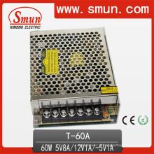 Fonte de alimentação 5V8a / 12V1a / -5V1a do interruptor triplo da saída 60W