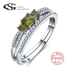 2017 neue Mode Liebhaber Ring 925 Sterling Silber Ring mit grünen Zirkon