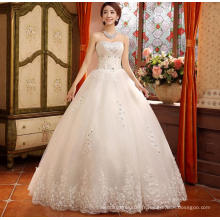 Nouveau style de dentelle à récréation multi-étagée avec ceinture blanche blanc amanda novias robes de mariée