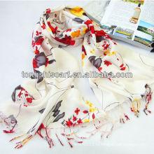 чистый цвет вязание бахромой шаль с цветок печати