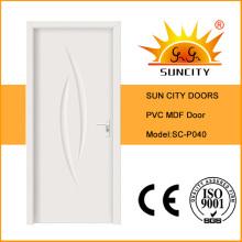Prix de la porte en PVC MDF blanc simple usine économique (SC-P040)