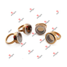 De moda de aleación de vidrio flotante Locket anillo para regalos de fiesta (lrg51024)