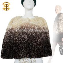 Brand Design Leopard Print Casaco de pele de coelho com coelho genuíno com Bowknot