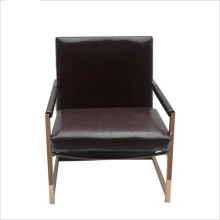 Gold stainless steel leather hotel relax sofa chair