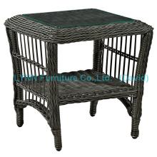 Black Round Rattan Beistelltisch Outdoor Möbel