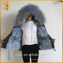 2017 New Design Women Custom Thick Jacket Fox Alinhado Fur Parka