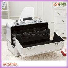 Silver Color Girls Cosmetic Travel Case with Compartments (SACMC061)