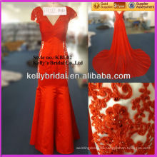 Hot sale red embroideried mermaid evening dress with long train