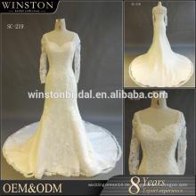 2017 Elegante lange Ärmel Brautkleid Appliques Gericht Zug Dubai Arab Ballkleid Muslim Brautkleid