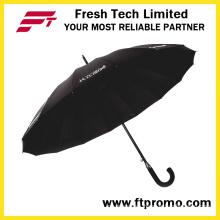 23*16k Auto Open Straight Umbrella for Pure Color