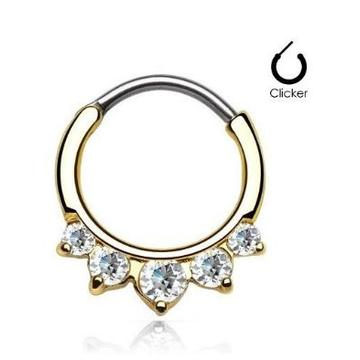 Paved CZ Gem Round Nose Septum Clicker