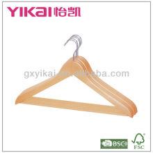 Percha de madera de la camisa con 2pcs clips del metal