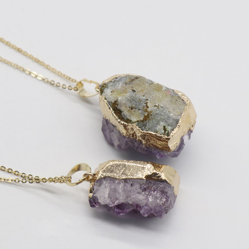 Amethyst Druzy Pendant Purple Drusy Necklace Drusy Gold Layer Raw Gemstone Bohemian Jewelry