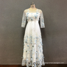 Vestido de poliéster borboleta bordado longo das mulheres
