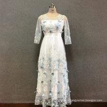 Robe longue brodée papillon en polyester pour femmes