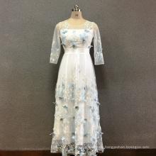Langes Kleid aus Polyester-Schmetterlingsstickerei für Damen