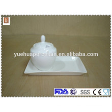 wholesale ceramiic sugar pot with white porcelain tray