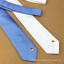 Cravates chinoises en gros de logo de coutume de Jacquard de soie chinoise d'hommes