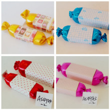 Colorful shaped Silk cloth and paper candy box