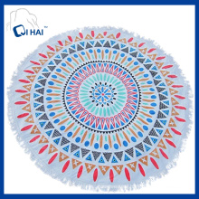 100% Cotton Tassels Round Beach Towel (QQD887)