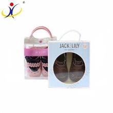 Logo adapté aux besoins du client et tailles! Carton empaquetant des boîtes de chaussures de bébé avec la fenêtre claire de PVC