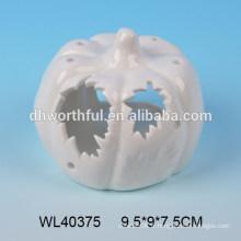 Artisanat en porcelaine blanche pour LED avec design de citrouille halloween