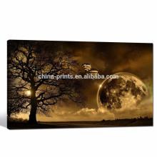 Sunset Landscape Pictures Impressão giclée Crepúsculo sob o cenário de árvore / inverno