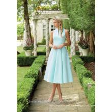 Venta al por mayor buena calidad simple satinado barato alto cuello corto una línea de vestidos de dama de honor LBS12