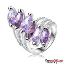 Amethyst Zircon Blatt Ring für Frauen (Ri-HQ0025)