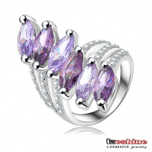 Amethyst Zircon Leaf Ring for Women (Ri-HQ0025)