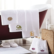хлопок белый вышивка логотипа премиум спа полотенце