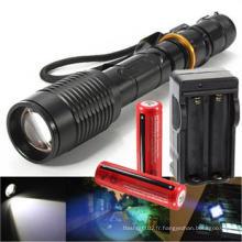 Rechargeable Tactical T6 LED Flashlight Torch + 18650 Batterie et chargeur