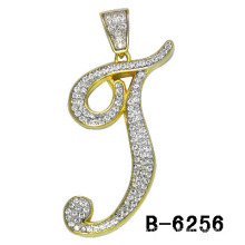 925 Silver Micro Setting Two Tones Plating Letter Charm.