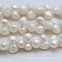 9-10mm Collier de foret percé de perles de perles baroque naturelles (E190032)