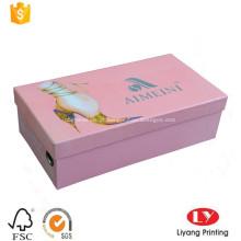 Caixa de embalagem de sapatos de papelão rígida para senhora
