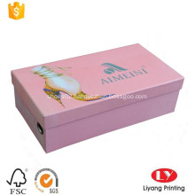 Rigid cardboard shoes packaging box for lady