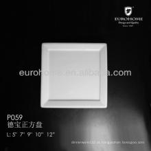 P059 2014 novo design branco multa porcelana larga jante prato quadrado raso, prato prato