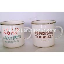 white word simply enamel coating mugs