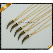 Fashion Jewelry Horn Pendant Smoky Crystal Quartz Necklace (CN018)