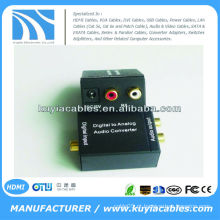 Digital Toslink Ótico ou SPDIF Coaxial para Analog L / R RCA Audio Converter Adapter