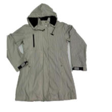 Grey Stripe Hooded Waterproof PU Raincoat