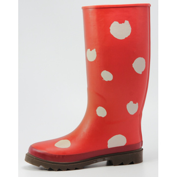 Bright Red Big White Dot Women Rubber Boots
