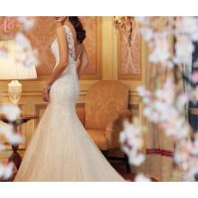 Alibaba más tamaño de encaje de cristal Perlas Perlas Irovy Trumpet vestido de novia Vestidos Sirena Corte