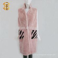 Brand Elegant Design Mulheres de pele de carneiro cor-de-rosa Shearling Camisola longa